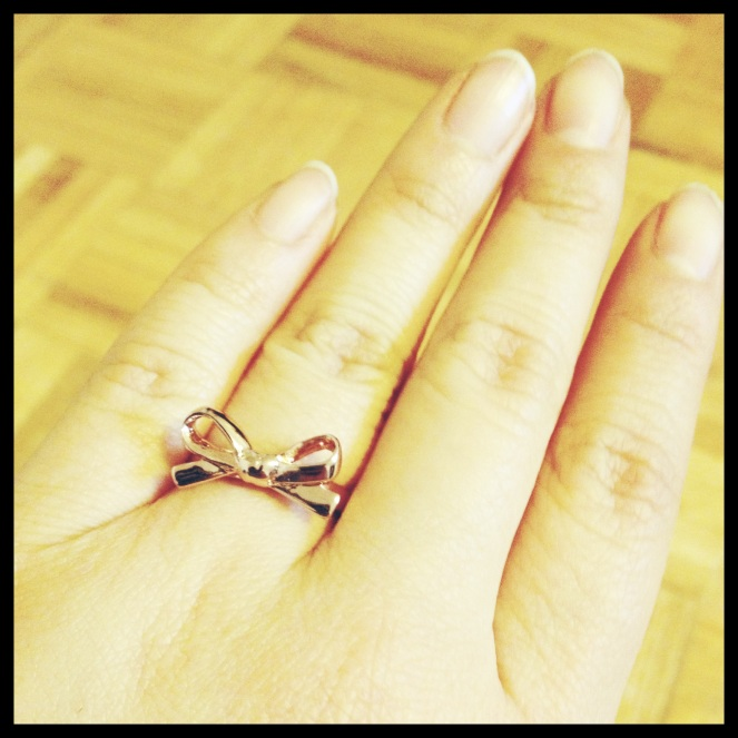 kate spade rose gold bow ring