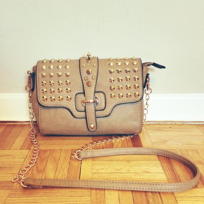 tan studded crossbody bag