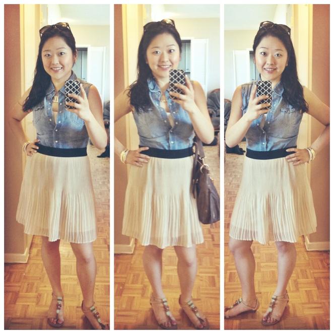 styling chambray shirt with chiffon skirt