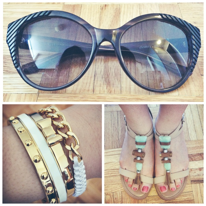 chloe sunglasses, kate spade bangles, helloberry bracelet, bcbgeneration tandee sandals