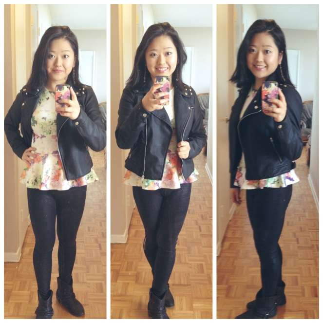 floral peplum top with studded leather jacket